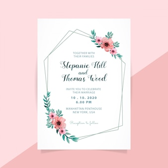 Cadre polygone invitation mariage floral