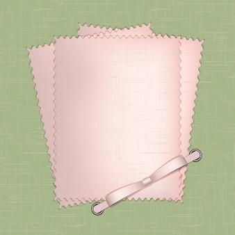 Cadre pour une photo ou des invitations avec des noeuds roses sur fond vert. illustration vectorielle