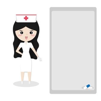 Cadre pour texte avec une jolie fille en conception de vecteur uniforme infirmière