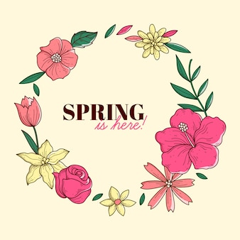Cadre de printemps coloré dessiné à la main avec des fleurs et des feuilles