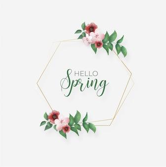 Cadre de printemps avec des feuilles et des fleurs