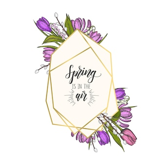 Cadre de printemps avec des formes de diamants géométriques dorés et des fleurs dessinées à la main