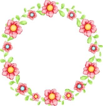 Cadre de printemps rond de fleurs et de feuilles peintes à l'aquarelle