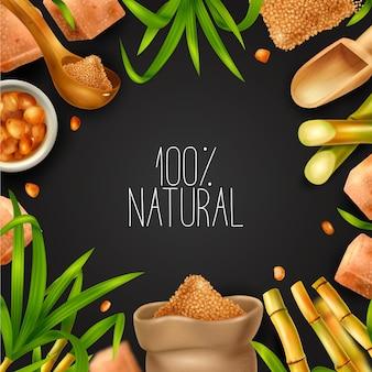Cadre réaliste de canne à sucre avec production naturelle