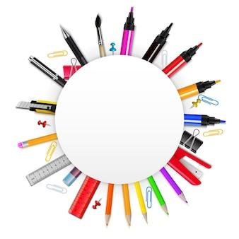 Cadre réaliste coloré en forme de cercle avec divers articles de papeterie sur illustration vectorielle fond blanc