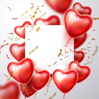 Cadre réaliste de confettis de ballon coeur 3d