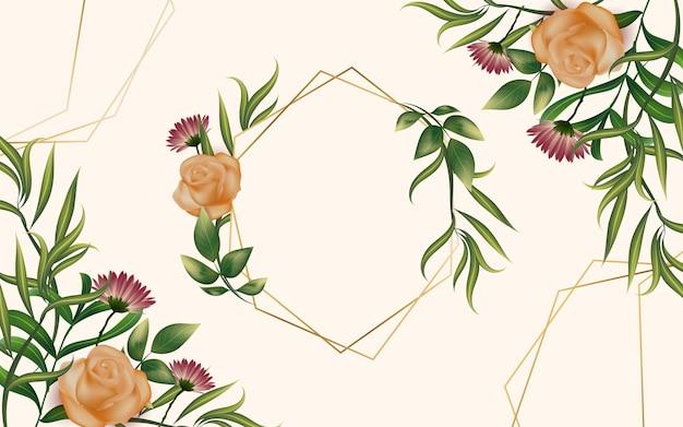 Cadre réaliste avec fleurs et feuilles