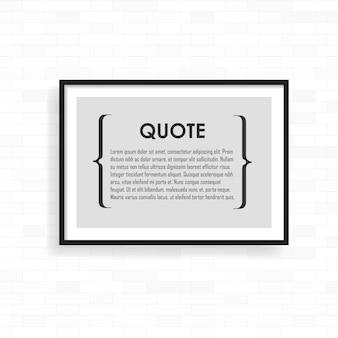 Cadre réaliste sur le mur de briques grunge clair. parfait pour vos présentations. cadre pour vos projets.