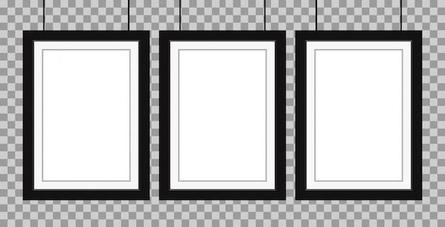 Cadre réaliste de trois affiches