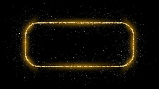 Cadre rectangle arrondi doré avec des paillettes, des étincelles et des fusées éclairantes sur fond sombre. toile de fond de luxe vide. illustration vectorielle.