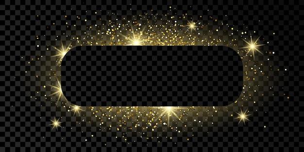 Cadre rectangle arrondi doré avec des paillettes, des étincelles et des fusées éclairantes sur fond transparent foncé. toile de fond de luxe vide. illustration vectorielle.