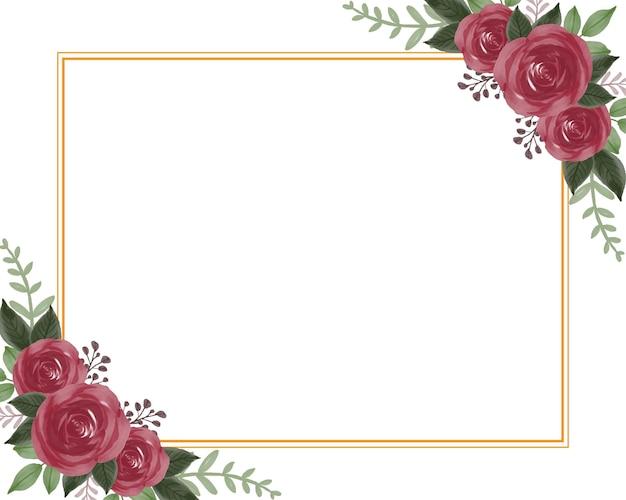 Cadre rectangle avec beau bouquet de roses rouges