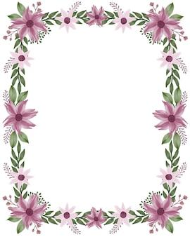Cadre rectangle avec bordure de fleur violette et feuille verte pour carte de voeux