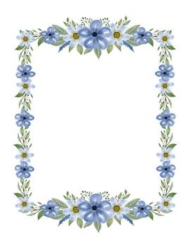 Cadre rectangle avec bordure de fleurs aquarelle bleue
