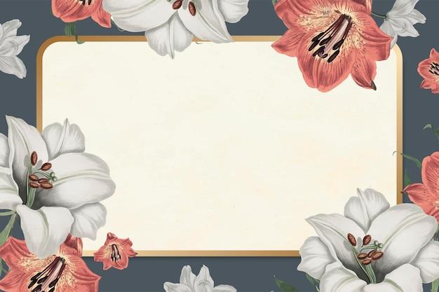 Cadre rectangle botanique or