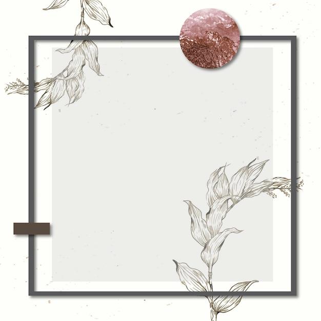 Cadre rectangle avec un contour laisse la décoration sur fond teinté
