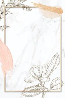 Cadre rectangle avec des coups de pinceau et décoration de fleurs de contour sur fond de marbre