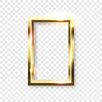 Cadre rectangle doré brillant abstrait sur fond transparent