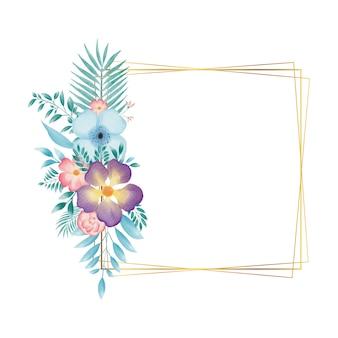 Cadre rectangle doré avec couronne florale aquarelle colorée