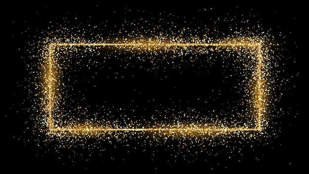 Cadre rectangle doré avec des paillettes, des étincelles et des fusées éclairantes sur fond sombre. toile de fond de luxe vide. illustration vectorielle.