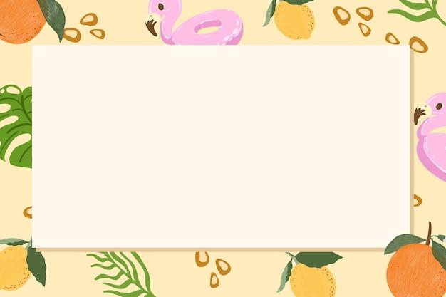 Cadre rectangle d'été tropical sur fond beige