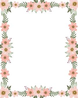 Cadre rectangle avec fleur de pêcher et boder de feuilles vertes fraîches