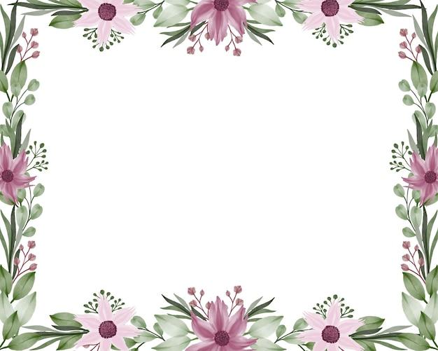 Cadre rectangle avec fleur violette et bordure de feuille verte sur fond blanc