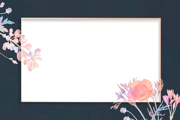 Cadre rectangle floral blanc