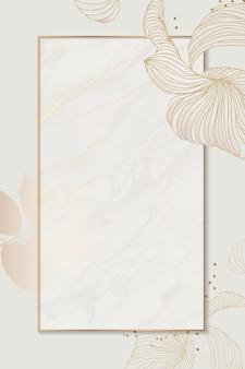 Cadre rectangle floral doré