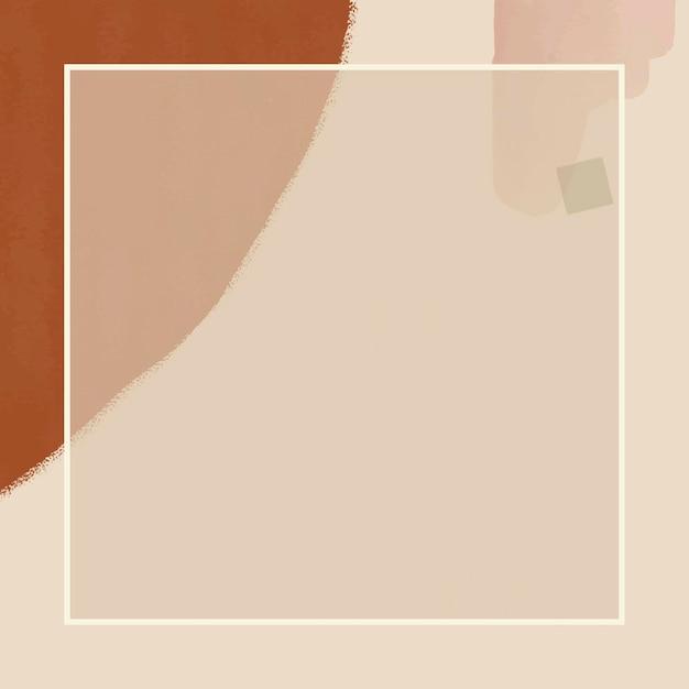 Cadre rectangle sur fond aquarelle marron et crème