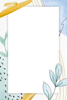 Cadre rectangle sur fond floral vert
