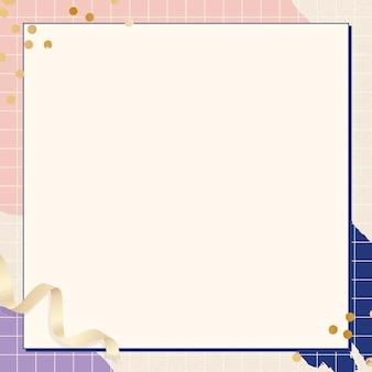 Cadre rectangle sur fond de memphis