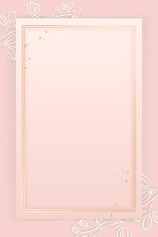Cadre rectangle sur fond rose motif floral