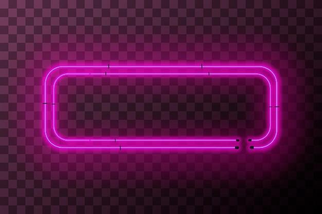 Cadre rectangle néon rose vif sur fond transparent