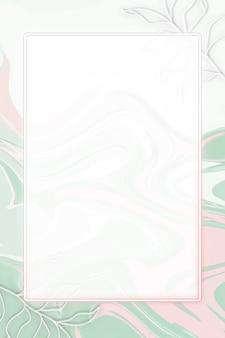 Cadre rectangle de néons avec des feuilles