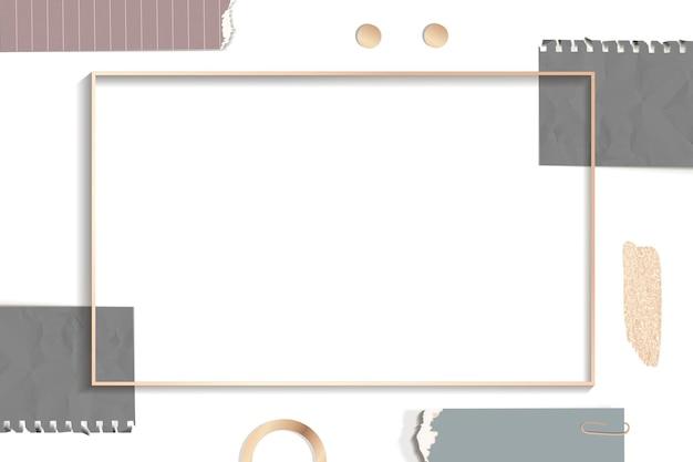 Cadre rectangle de notes déchirées