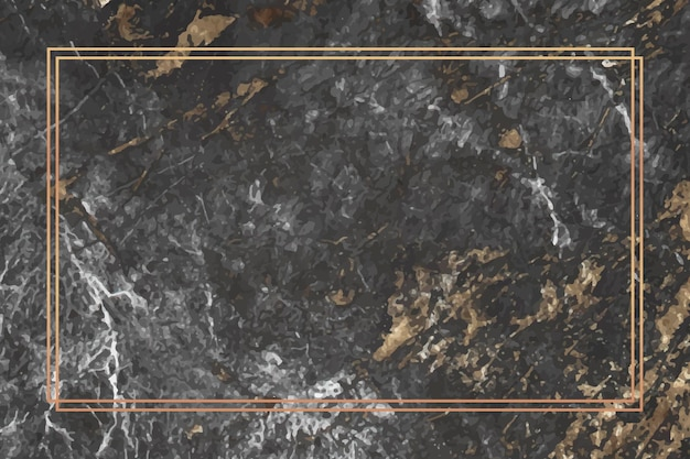 Cadre rectangle or sur fond de marbre