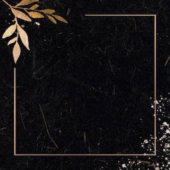 Cadre de rectangle d'or de noël sur le vecteur de fond noir