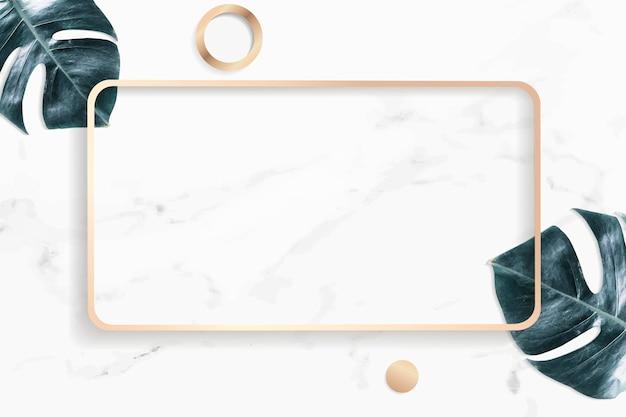 Cadre rectangle sur vecteur de fond de marbre motif feuille fendue métallique