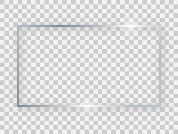 Cadre rectangulaire argenté brillant 16x9 avec effets lumineux et ombres sur fond transparent. illustration vectorielle