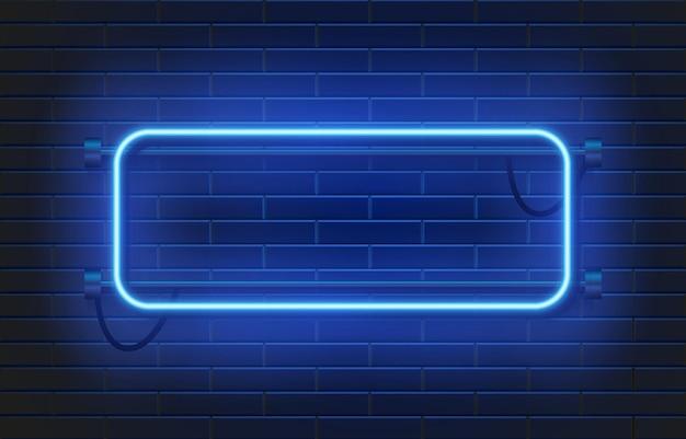 Cadre rectangulaire de casino lampe néon sur mur de briques.