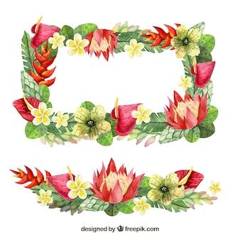 Cadre rectangulaire de fleurs d'aquarelle