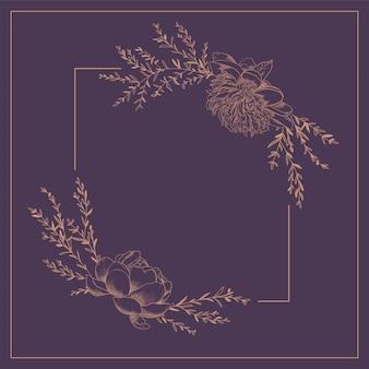 Cadre rectangulaire avec guirlande de fleurs