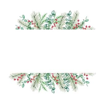 Cadre rectangulaire de noël aquarelle avec des branches de sapin et de pin d'hiver