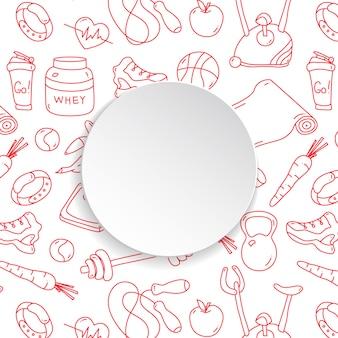 Cadre de remise en forme avec fond de gym dessiné à la main et assiette en papier 3d.