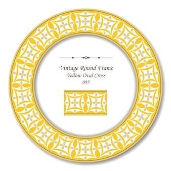 Cadre rétro rond vintage de croix ovale jaune