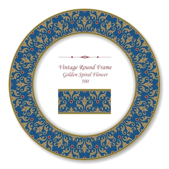 Cadre rétro rond vintage de fleur en spirale dorée