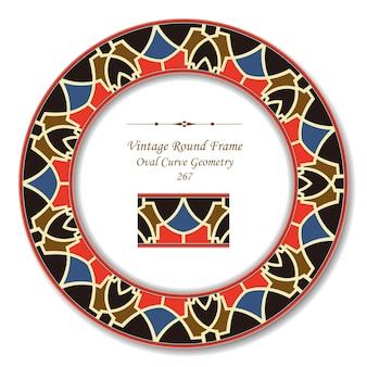 Cadre rétro rond vintage de géométrie cruve ovale
