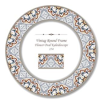 Cadre rétro rond vintage de kaléidoscope ovale de fleurs