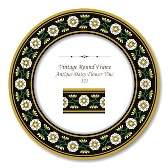 Cadre Rétro Rond Vintage De Vigne De Fleur De Marguerite Antique Vecteur Premium